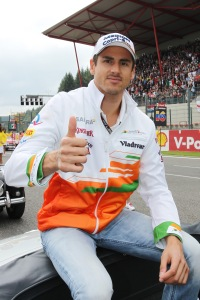 Adrian Sutil on the drivers' parade.