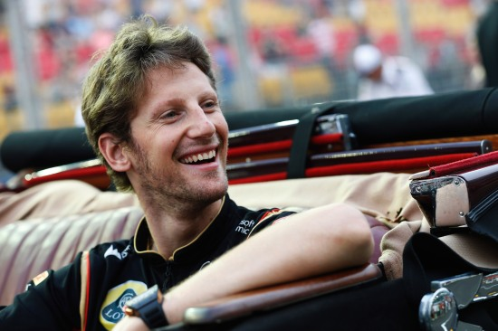 Romain Grosjean in the drivers parade
