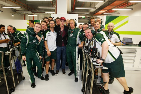 Nicholas Hoult with the Caterham team at the Marina Bay Circuit, Singapore.