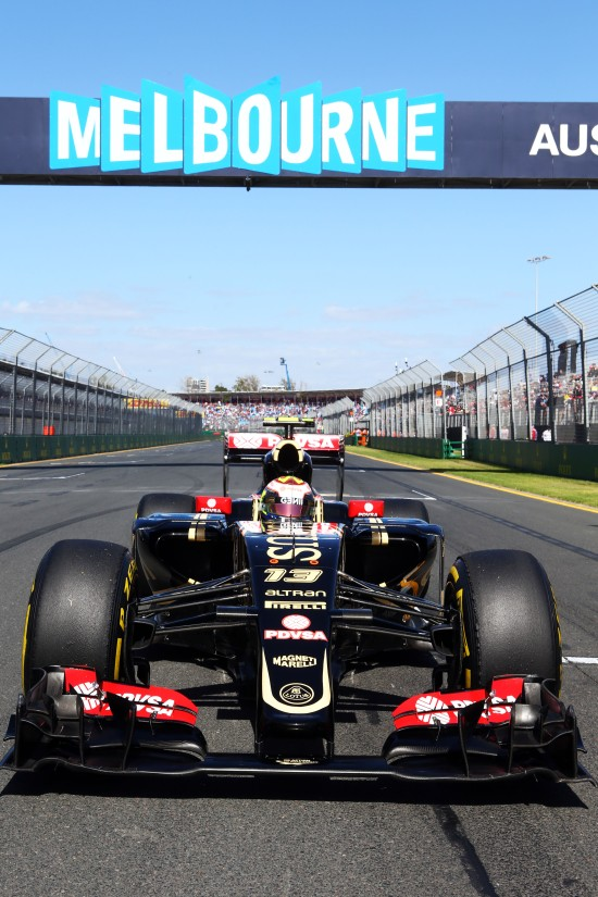 Pastor Maldonado in the E23 on the grid.