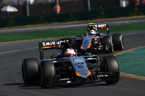 Nico Hulkenberg leads team mate Sergio Perez.
