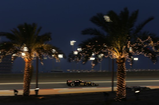 Nice night shot of Romain Grosjean on the Friday.