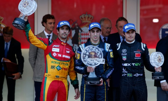 Buemi on the top step of the podium in Monaco.
