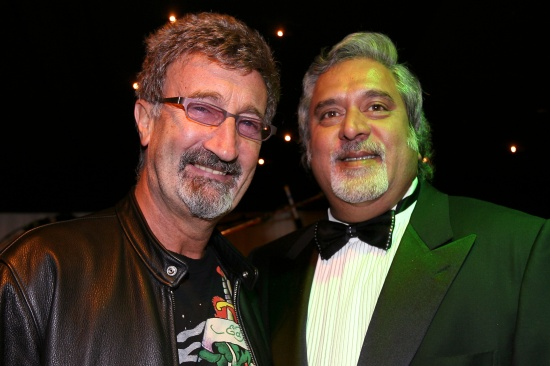 (L to R): Eddie Jordan (IRE) and Vijay Mallya (IND) Force India F1 Team Owner   Force India F1 Christmas Party, 20 December 2007. Force India F1 Factory, Silverstone, UK