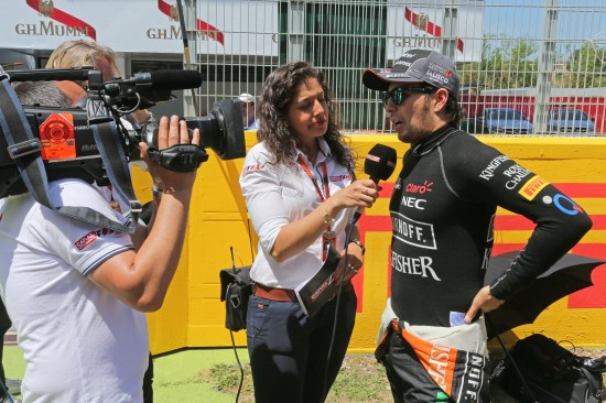 Sergio Perez with yet another interview on the grid.