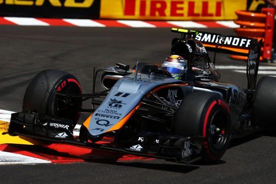 Sergio Perez (MEX) Sahara Force India F1 VJM08. Monaco Grand Prix, Sunday 24th May 2015. Monte Carlo, Monaco.