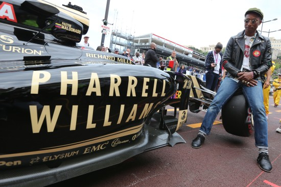 Pharrell Williams (USA) Singer-Songwriter with the Lotus F1 E23. Monaco Grand Prix, Sunday 24th May 2015. Monte Carlo, Monaco.