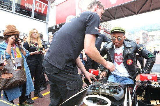 Pharrell Williams (USA) Singer-Songwriter with the Lotus F1 Team team. Monaco Grand Prix, Sunday 24th May 2015. Monte Carlo, Monaco.