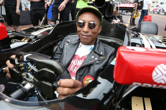 Pharrell Williams (USA) Singer-Songwriter with the Lotus F1 Team. Monaco Grand Prix, Sunday 24th May 2015. Monte Carlo, Monaco.