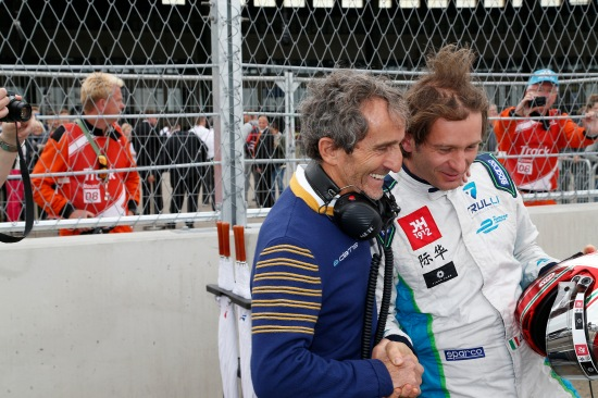 2014/2015 FIA Formula E Championship. Jarno Trulli (ITA)/Trulli Racing - Spark-Renault SRT_01E and Alain Prost. Formula E Race. Berlin e-Prix, Berlin, Germany, Europe. Saturday 23 May 2015 Photo: Adam Warner/LAT/Formula E ref: Digital Image _L5R8285