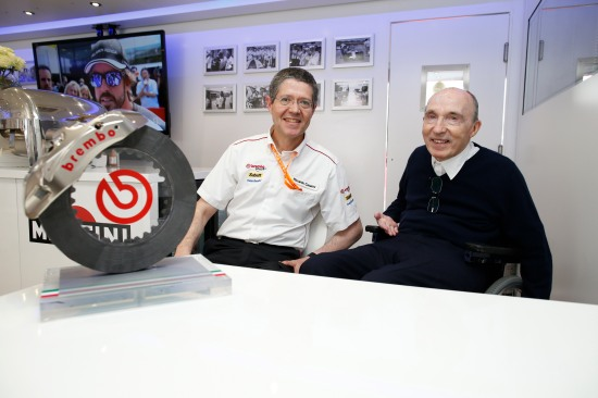Riccardo Cesarini (left) and Sir Frank Williams.