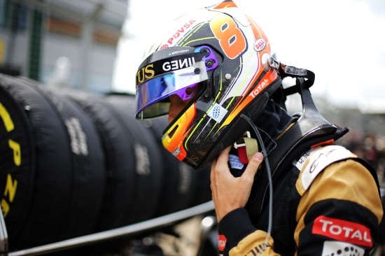 Romain Grosjean (FRA) Lotus F1 Team on the grid. British Grand Prix, Sunday 5th July 2015. Silverstone, England.