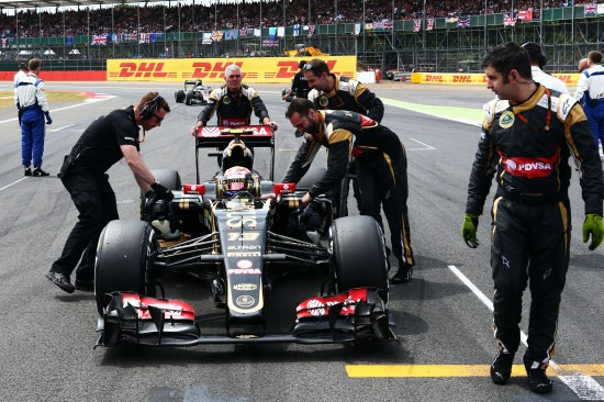 Pastor Maldonado (VEN) Lotus F1 E23 on the grid. British Grand Prix, Sunday 5th July 2015. Silverstone, England.