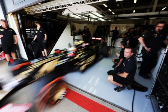 Romain Grosjean (FRA) Lotus F1 E23 leaves the pits. British Grand Prix, Friday 3rd July 2015. Silverstone, England.