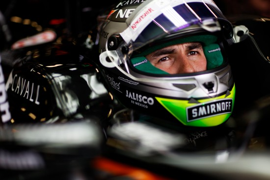 Sergio Perez (MEX) Sahara Force India F1 VJM08. British Grand Prix, Friday 3rd July 2015. Silverstone, England.