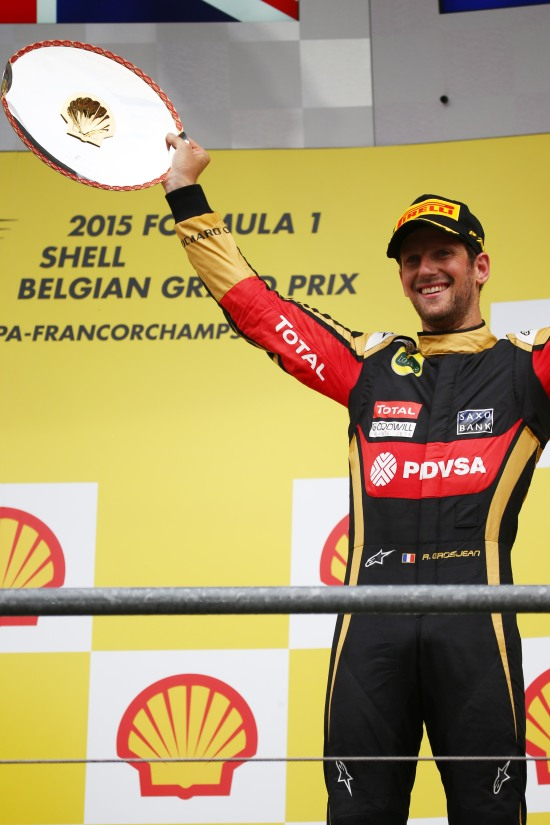 Romain Grosjean celebrates his third position on the podium