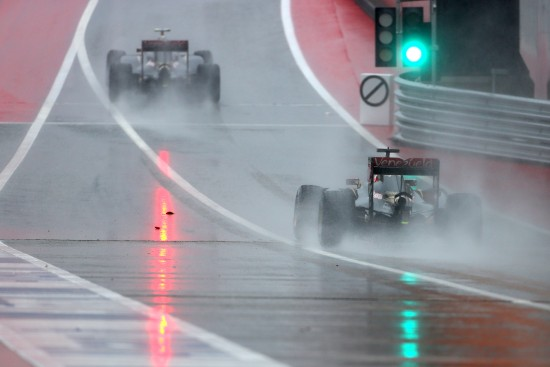 Romain Grosjean (FRA) Lotus F1 E23 follows team mate Pastor Maldonado (VEN) Lotus F1 E23. United States Grand Prix, Saturday 24th November 2015. Circuit of the Americas, Austin, Texas, USA.