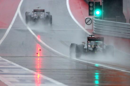 Romain Grosjean (FRA) Lotus F1 E23 follows team mate Pastor Maldonado (VEN) Lotus F1 E23. United States Grand Prix, Saturday 24th November 2015. Circuit of the Americas, Austin, Texas, USA.