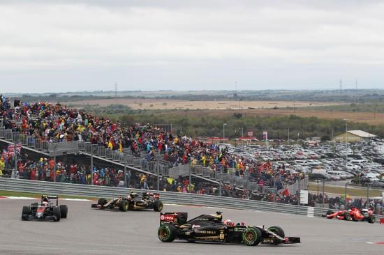 Romain Grosjean (FRA) Lotus F1 E23. United States Grand Prix, Sunday 25th November 2015. Circuit of the Americas, Austin, Texas, USA.