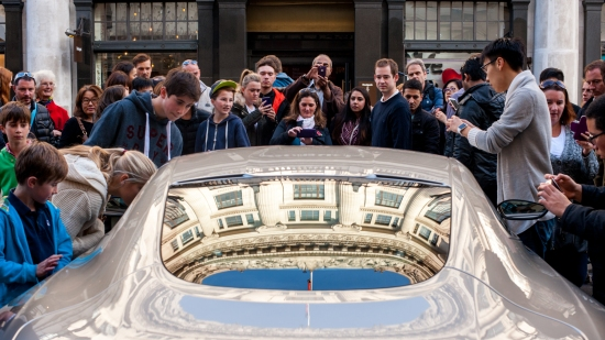 Crowds viewing the Aston Martin DB10 from the new James Bond film Spectre at the Regent Street Motor Show, London 31/10/2015