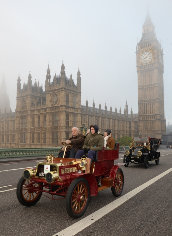 Drivers cross Westminster Bridge during the Bonhams London to Brighton Veteran Car Run, London. PRESS ASSOCIATION Photo. Picture date: Sunday November 1, 2015. As many as half a million spectators will line the route of the Bonhams London to Brighton Veteran Car Run this November, when the longest running motoring event in the world sets off on its annual adventure from London to Brighton. Photo credit should read: Anthony Devlin/PA Wire