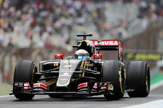 Romain Grosjean (FRA) Lotus F1 E23. Brazilian Grand Prix, Friday 13th November 2015. Sao Paulo, Brazil.