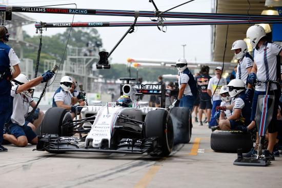 Felipe Massa, Williams FW37 Mercedes, in the pits. Photo: Glenn Dunbar/Williams