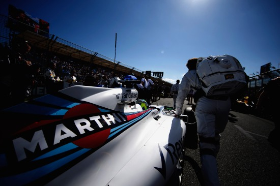 Albert Park, Melbourne, Australia. Sunday 20 March 2016. Felipe Massa, Williams FW38 Mercedes, arrives on the grid. Photo: Glenn Dunbar/Williams F1 ref: Digital Image _W2Q3776