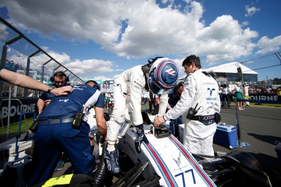 Albert Park, Melbourne, Australia. Sunday 20 March 2016. Valtteri Bottas, Williams Martini Racing, on the grid. Photo: Glenn Dunbar/Williams F1 ref: Digital Image _W2Q3810