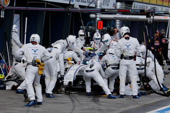 Albert Park, Melbourne, Australia. Sunday 20 March 2016. Valtteri Bottas, Williams FW38 Mercedes, makes a pit stop during the race. Photo: Steven Tee/Williams F1 ref: Digital Image _X0W6601