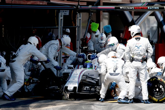 Felipe Massa makes a pit stop during the race.