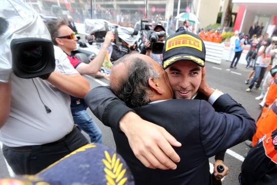 Sergio Perez (MEX) Sahara Force India F1 celebrates his third position at the podium with his father Antonio Perez (MEX). Monaco Grand Prix, Sunday 29th May 2016. Monte Carlo, Monaco.