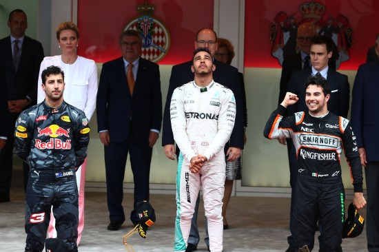The podium (L to R): Daniel Ricciardo (AUS) Red Bull Racing, second; Lewis Hamilton (GBR) Mercedes AMG F1, race winner; Sergio Perez (MEX) Sahara Force India F1, third. Monaco Grand Prix, Sunday 29th May 2016. Monte Carlo, Monaco.
