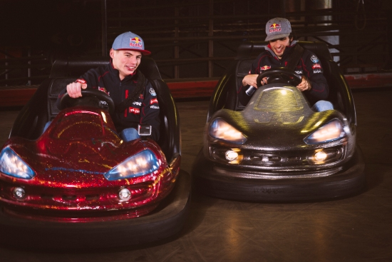 Carlos Sainz Jr and Max Verstappen perform on bumper cars in Tibidabo funfair, Barcelona, Spain on the 17 February 2015