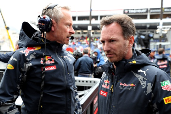 Christian Horner and Red Bull Racing Team Manager Jonathan Wheatley before  the race, but just as pertinent 78 laps on.