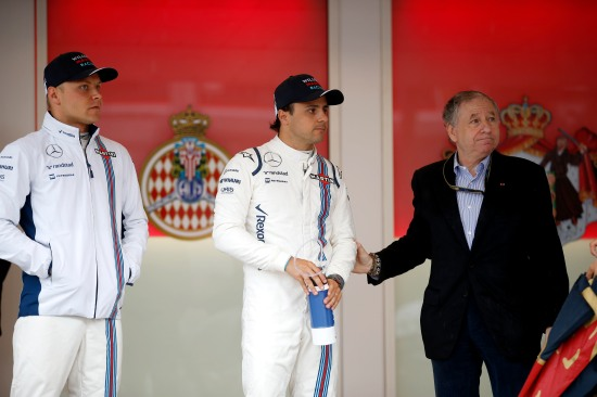 Valtteri Bottas and Felipe Massa with Jean Todt, President, FIA.