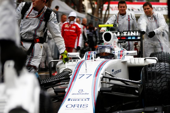 Monte Carlo, Monaco. Sunday 29 May 2016. Valtteri Bottas, Williams FW38 Mercedes, arrives on the grid. Photo: Andrew Hone/Williams ref: Digital Image _ONZ6875