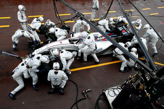 Monte Carlo, Monaco. Sunday 29 May 2016. Valtteri Bottas, Williams FW38 Mercedes, makes a pit stop during the race. Photo: Glenn Dunbar/Williams ref: Digital Image _W2Q4539
