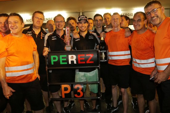 Sergio Perez (MEX) Sahara Force India F1 celebrates his third position with the team. European Grand Prix, Sunday 19th June 2016. Baku City Circuit, Azerbaijan.