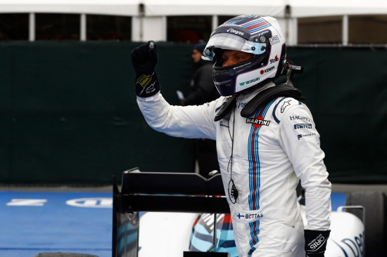 Circuit Gilles Villeneuve, Montreal, Canada. Sunday 12 June 2016. Valtteri Bottas, Williams Martini Racing, 3rd Position, celebrates in Parc Ferme. Photo: Steven Tee/Williams ref: Digital Image _H7I5895
