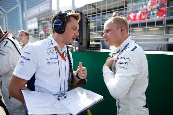 Baku City Circuit, Baku, Azerbaijan. Sunday 19 June 2016. Valtteri Bottas, Williams Martini Racing, and Jonathan Eddolls, Race Engineer, Williams Martini Racing, on the grid. Photo: Glenn Dunbar/Williams ref: Digital Image _W2Q9054