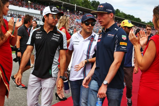 (L to R): Sergio Perez, Felipe Massa and Max Verstappen on the drivers parade.
