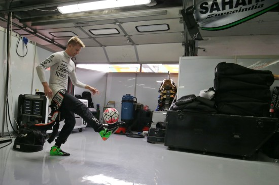 Nico Hulkenberg fancies a bit of footie.