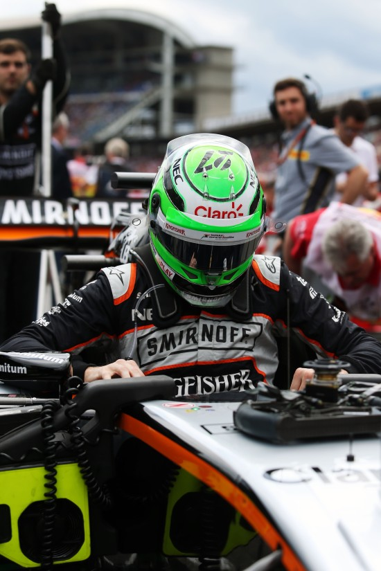 Nico Hulkenberg (GER) Sahara Force India F1 VJM09 on the grid. German Grand Prix, Sunday 31st July 2016. Hockenheim, Germany.