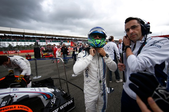 Silverstone, Northamptonshire, UK. Sunday 10 July 2016. Felipe Massa, Williams Martini Racing, on the grid. Photo: Glenn Dunbar/Williams ref: Digital Image _W2Q4883