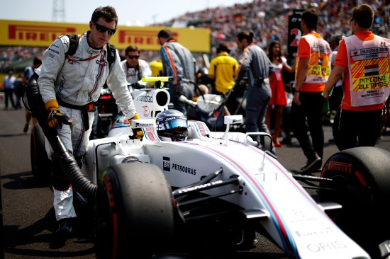 Hungaroring, Budapest, Hungary. Sunday 24 July 2016. Valtteri Bottas, Williams FW38 Mercedes, arrives on the grid. Photo: Glenn Dunbar/Williams ref: Digital Image _W2Q7931