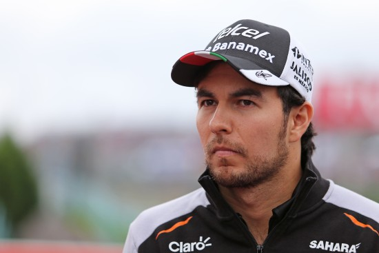Sergio Perez on the drivers parade.