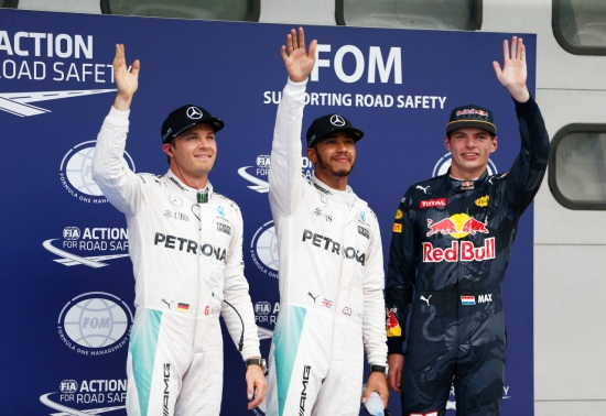 L-R: Rosberg, Hamilton and Max Verstappen for Red Bull starts in third for tomorrow's Malaysian GP.